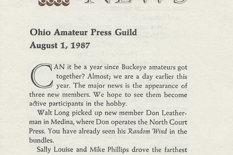 OAPG News - August 1987 - Page 1