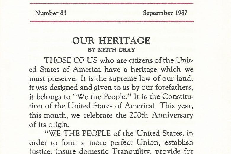 Original Entry - Number 83, September 1987 - Page 1
