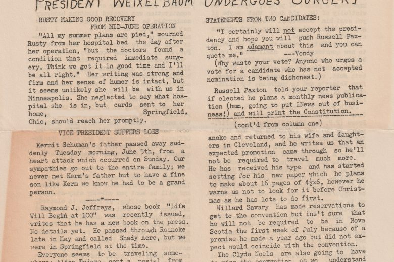 Literary Newsette - Number 383, June 1956 - Page 1