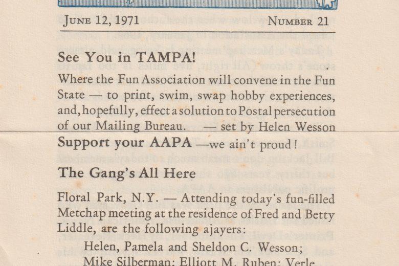 The Metropolitan Amateur - Number 21, July 1971 - Page 1